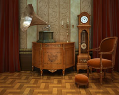 traditional grandfather clock and gramophone