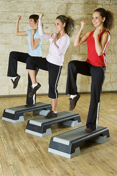 young women exercising at a fitness club
