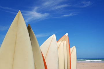 surfboards at the beach