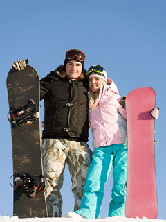 two snowboarders wearing winter sports apparel