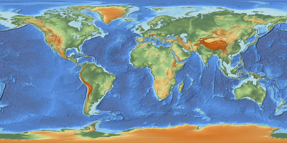 world relief map